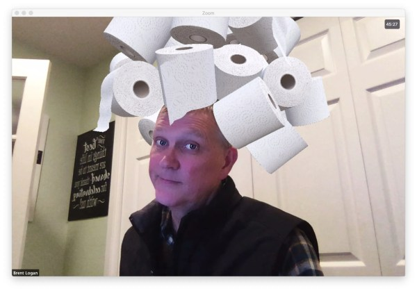 """Brent wearing a toilet paper """"hat"""""""
