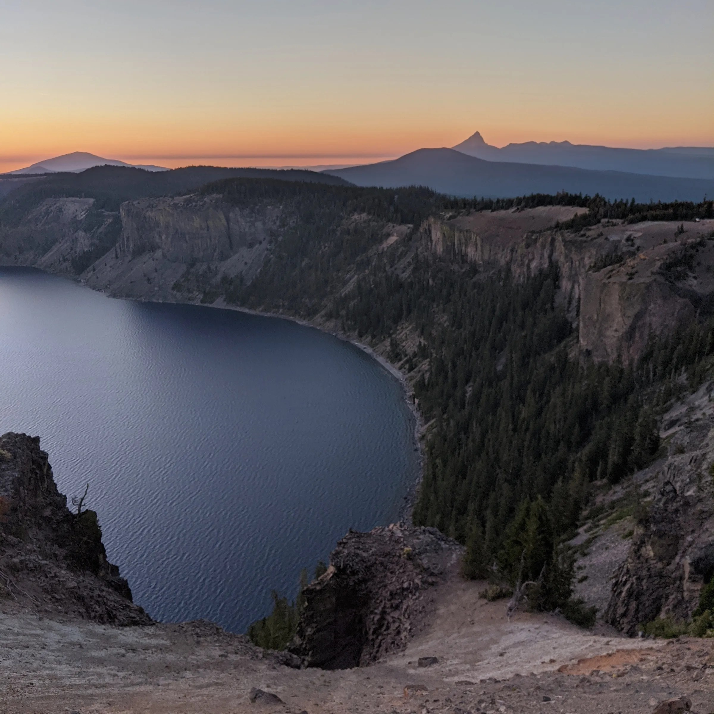 Crater Lake with Mt. Thielsen in the background