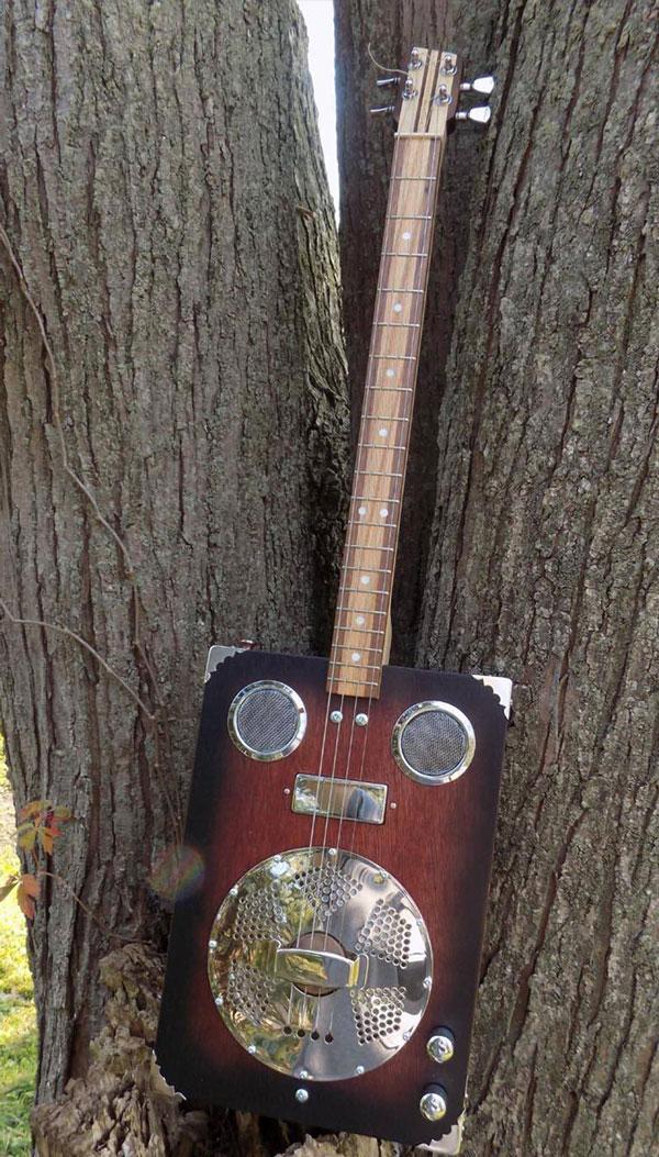 4-String Resonator Cigar Box Guitar with Dual Electric Pickup