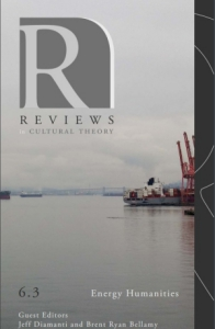 Cover of Reviews in Cultural Theory with an image of shipping harbor