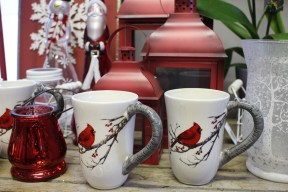 Start or end your day with a warm beverage in a beautiful mug for the season