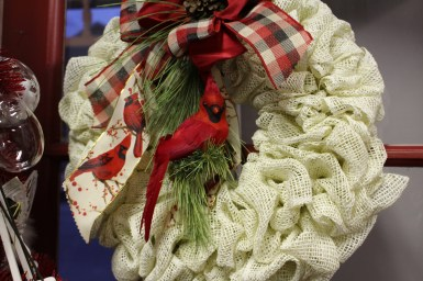 Cardinal fabric wreath