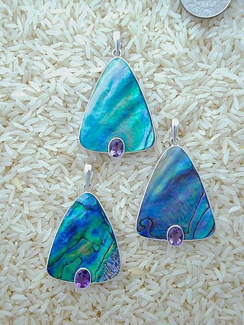 Paua Abalone Pendant Large Teardrop: Oval Amethyst