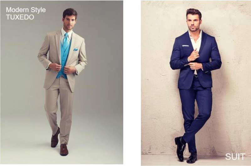 Modern Tuxedo vs Suit visual comparison