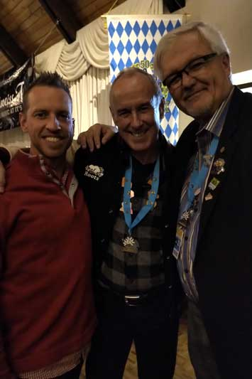 Brent Ferguson & Leo Tobi with Ron Mclean from Hockey Night in Canada at Oktoberfest