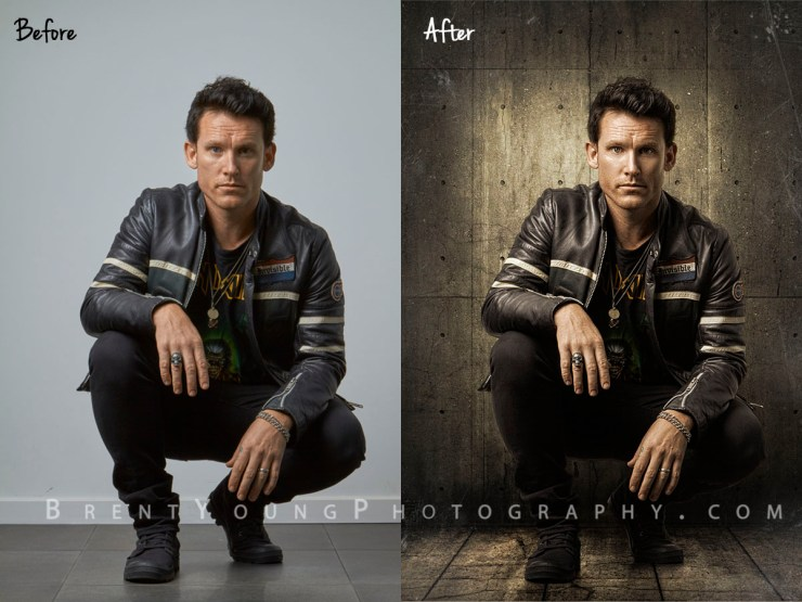 before & after of Cowra Photographer Brent Young 's image of Sydney Musician Jamie Lindsay