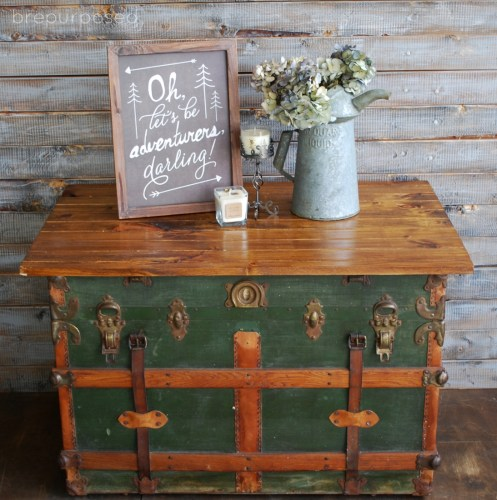 Antique Steamer Trunk Turned Coffee Table