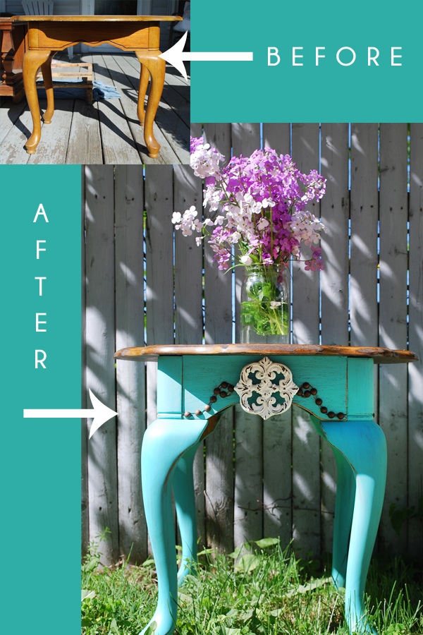 A dated end table gets a fun and bright update using Turquoise colored paint from Target's Devine Paint Line!