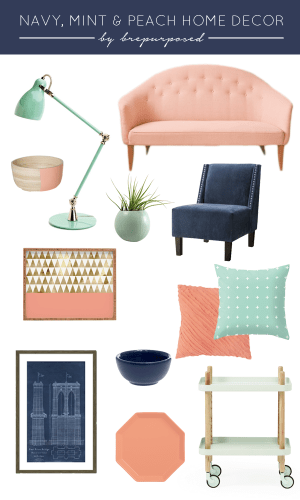 Navy, Mint and Peach Home Decor