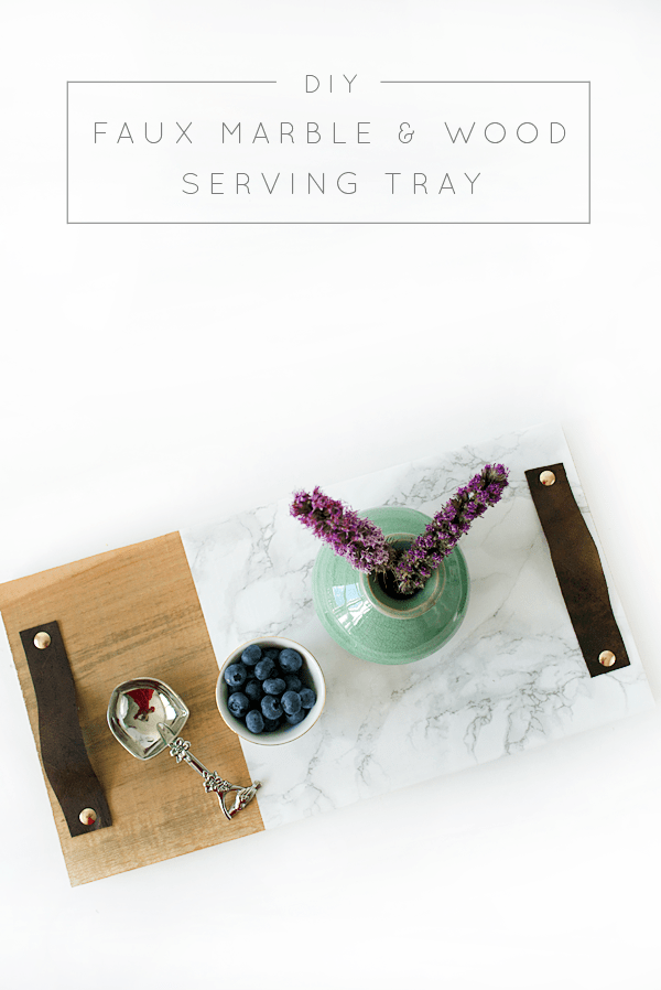 DIY Faux Marble and Wood Serving Tray