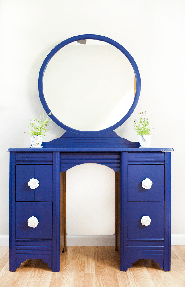 Blue Vanity Makeover with Satin Enamel Paint