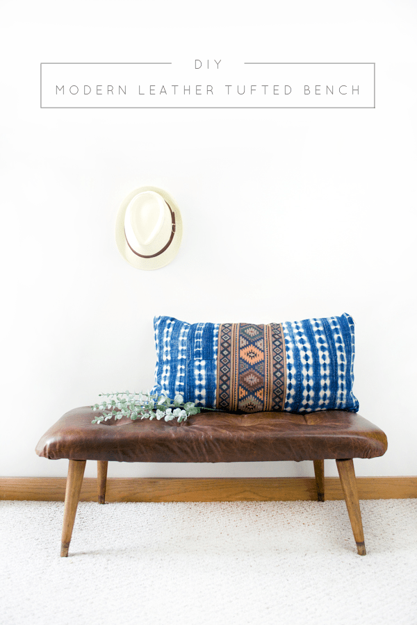 DIY Modern Leather Tufted Bench