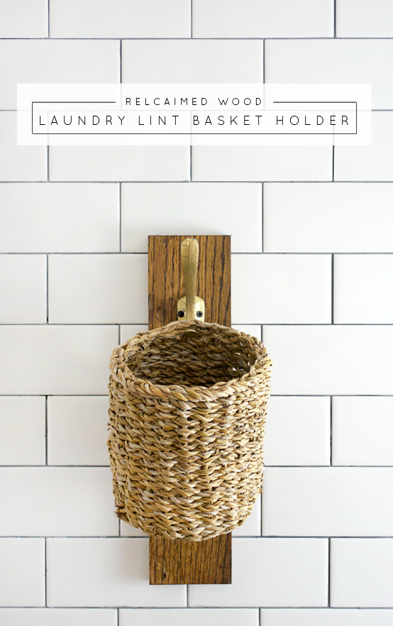 Use an old piece of scrap wood to create this hanging laundry lint basket!