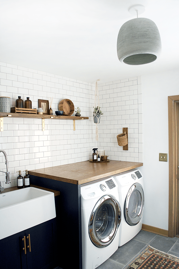 butcher block counters in a modern laundry room