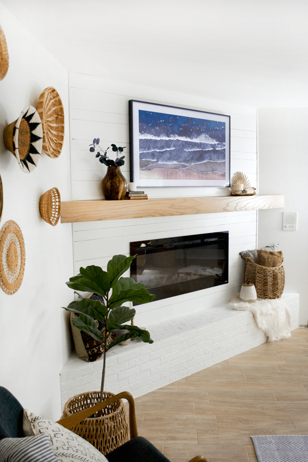 The last piece of our master bedroom is finally finished with this fireplace makeover (which I'll be sharing all the details about in a post soon) and I'm so happy with how it turned out. A TV was a must have in this space, but with The Frame I get to seamlessly blend it into the rest of our decor and make it appear like it's just another beautiful piece of art.