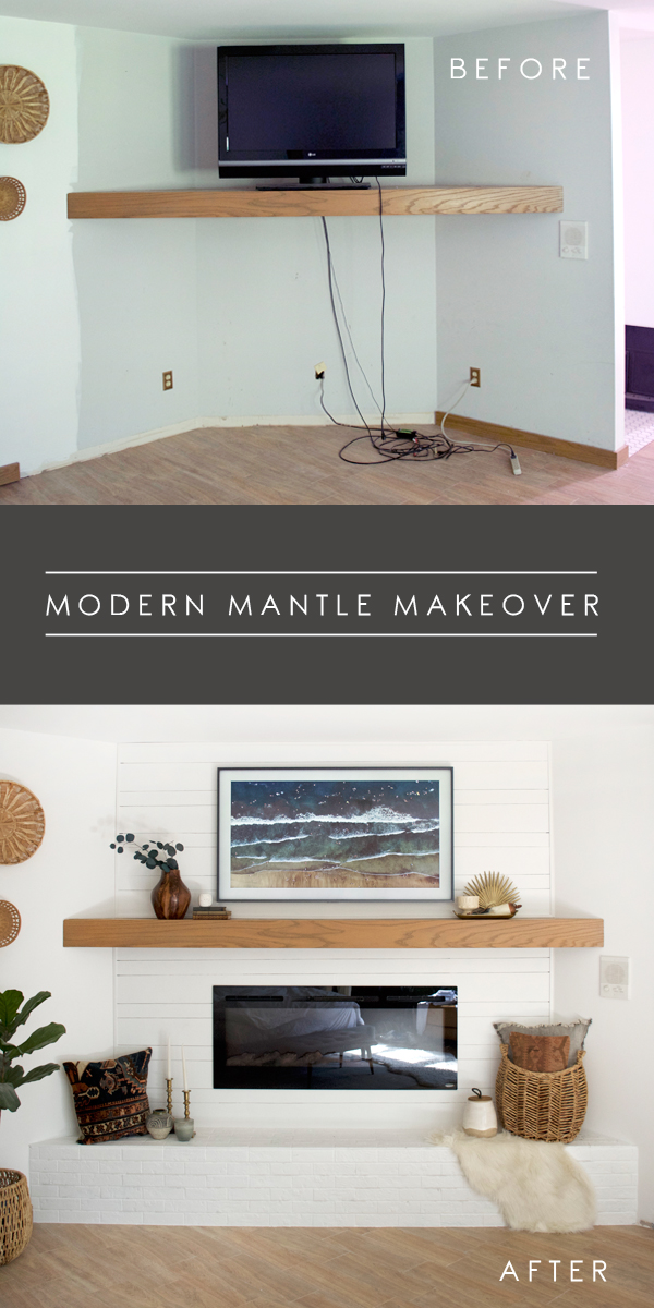 Simple Modern Mantle Makeover with White Brick and Shiplap