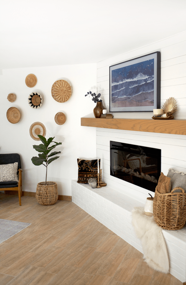 Simple and Modern Mantle Makeover with White Brick and Shiplap