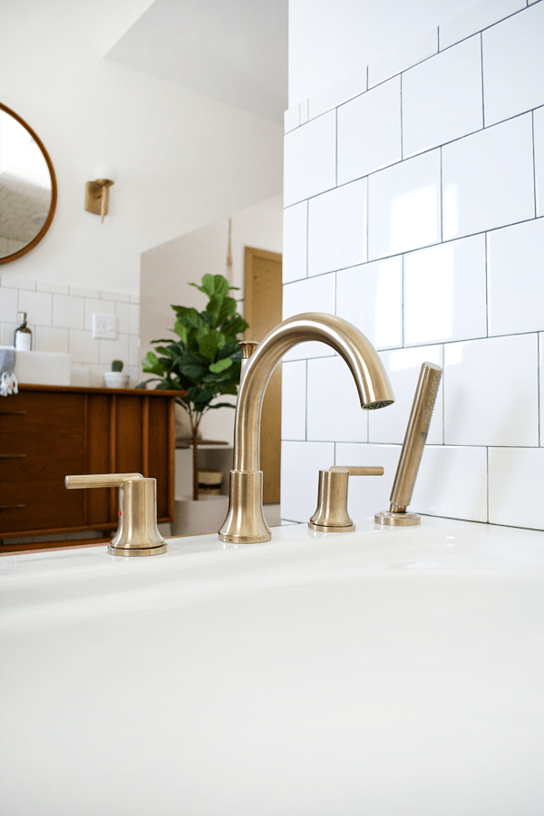 stylish and functional fixtures in a modern vintage bathroom