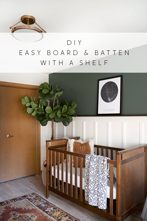 easy board and batten accent wall with dark green