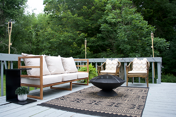 modern back porch makeover in cream and black