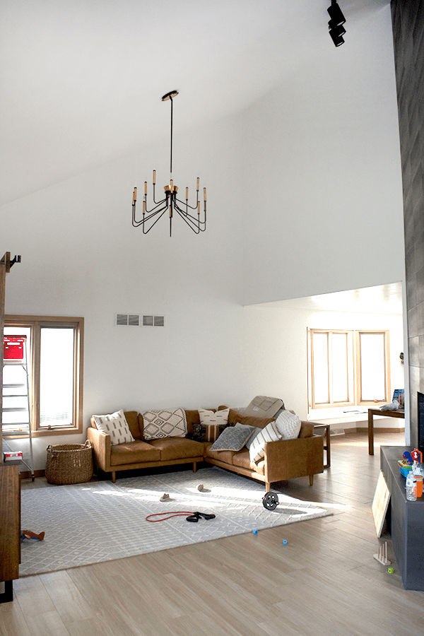 Black and Brass Chandelier in a living room