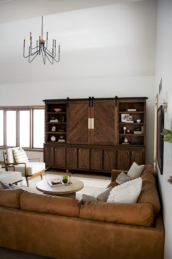 Modern Vintage Room with Wood Entertainment Center
