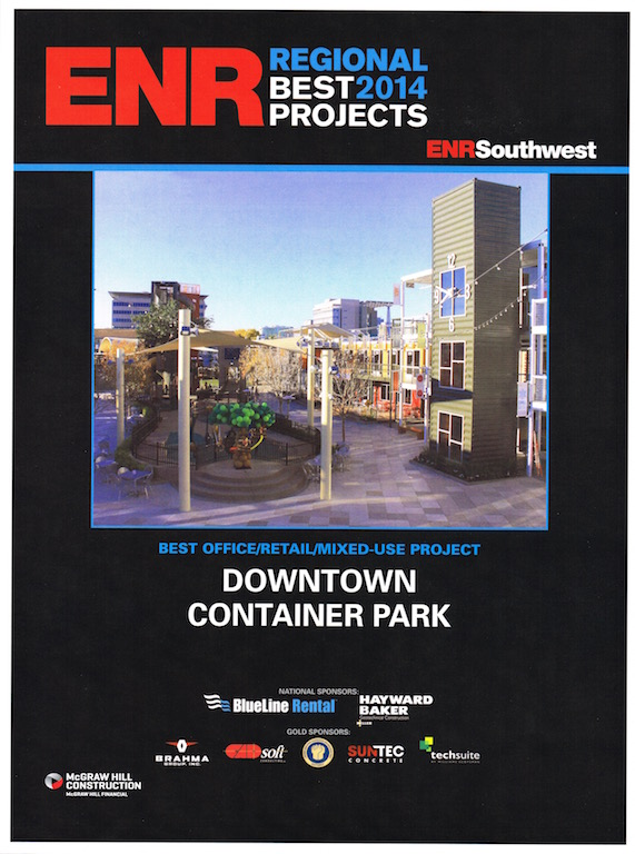 ENR Southwest Best Projects 2014 Award Breslin Builders received for the Downtown Container Park