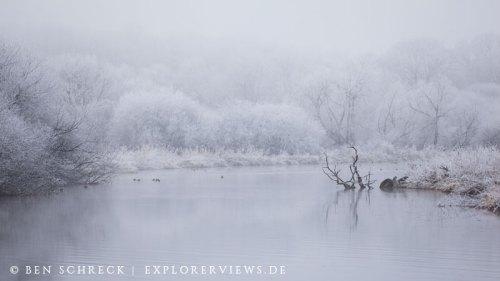 Winter Landschaft am Kanal Nantes-Brest