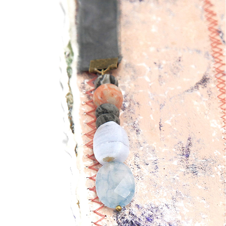 bookmark_original_artwork_silk_hand_dyed_ribbon_gemstone_crystal_aquamarine_black_zebra_detail
