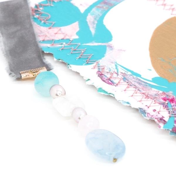 bookmark_original_artwork_silk_hand_dyed_ribbon_gemstone_crystal_aquamarine_pearl_moonstone_detail