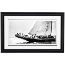 Framed Limited edition, Silver Gelatin, Black and White Photograph of sailing boat Meteor 2. Taken by a talented marine photographer Alfred John West in 1897. This photograph was scanned from original glass plate negatives and developed in the dark room as they used to do it period. Available to purchase in deferent sizes from Brett Gallery. Beken of Cowes Framed Prints, Beken of Cowes archives, Beken of Cowes Prints, Beken Archive, Cowes Week old Photographs, Beken Prints, Frank beken of Cowes.