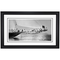 Framed Limited edition, Silver Gelatin, Black and White Photograph of sailing boat Meteor 2 Aground. Taken by a talented marine photographer Alfred John West in 1897. Available to purchase in various sizes from the Brett Gallery. this picture was developed in the darkroom and scanned from original glass plat negative from period. Beken of Cowes Framed Prints, Beken of Cowes archives, Beken of Cowes Prints, Beken Archive, Cowes Week old Photographs, Beken Prints, Frank beken of Cowes.