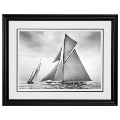 Framed Limited edition, Silver Gelatin, Black and White Photograph of sailing boat Nyria and Navahoe. Taken by a talented marine photographer Alfred John West in 1906. Available to purchase in various sizes from the Brett Gallery. This picture was developed in the darkroom and scanned from original glass plat negative from period. Beken of Cowes Framed Prints, Beken of Cowes archives, Beken of Cowes Prints, Beken Archive, Cowes Week old Photographs, Beken Prints, Frank beken of Cowes.