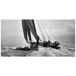 Unframed Black and White, Silver Gelatin, Limited edition Photograph of sailing yacht prince of Wales Yacht Britannia. Taken by a talented marine photographer Alfred John West in 1894. This photograph was scanned from original glass plate negatives and developed in the dark room as they used to do it period. Available to purchase in deferent sizes from Brett Gallery. Beken of Cowes Framed Prints, Beken of Cowes archives, Beken of Cowes Prints, Beken Archive, Cowes Week old Photographs, Beken Prints, Frank beken of Cowes.