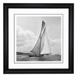 Framed Limited edition, Silver Gelatin, Black and White Photograph of sailing boat Prince of Wales Yacht Britannia with a beautiful set of clouds on the background. Taken by a famous marine photographer Frank Beken in 1923. This photograph was scanned from original glass plate negatives and developed in the dark room as they used to do it period. Available to purchase in deferent sizes from Brett Gallery. Beken of Cowes Framed Prints, Beken of Cowes archives, Beken of Cowes Prints, Beken Archive, Cowes Week old Photographs, Beken Prints, Frank beken of Cowes.