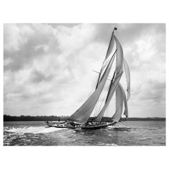 Unframed Black and White, Silver Gelatin, Limited edition Photograph of sailing yacht Rainbow. Taken by a talented marine photographer Alfred John West in 1898. This photograph was scanned from original glass plate negatives and developed in the dark room as they used to do it period. Available to purchase in deferent sizes from Brett Gallery. Beken of Cowes Framed Prints, Beken of Cowes archives, Beken of Cowes Prints, Beken Archive, Cowes Week old Photographs, Beken Prints, Frank beken of Cowes.