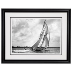 Framed Limited edition, Silver Gelatin, Black and White Photograph of sailing boat Rainbow. Taken by a talented marine photographer Alfred John West in 1898. Available to purchase in various sizes from the Brett Gallery. This picture was developed in the darkroom and scanned from original glass plat negative from period. Beken of Cowes Framed Prints, Beken of Cowes archives, Beken of Cowes Prints, Beken Archive, Cowes Week old Photographs, Beken Prints, Frank beken of Cowes.