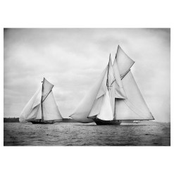 Unframed Black and White, Silver Gelatin, Limited edition Photograph of sailing yacht Satanita and Rainbow. Taken by a talented marine photographer Alfred John West in 1898. This photograph was scanned from original glass plate negatives and developed in the dark room as they used to do it period. Available to purchase in deferent sizes from Brett Gallery. Beken of Cowes Framed Prints, Beken of Cowes archives, Beken of Cowes Prints, Beken Archive, Cowes Week old Photographs, Beken Prints, Frank beken of Cowes.
