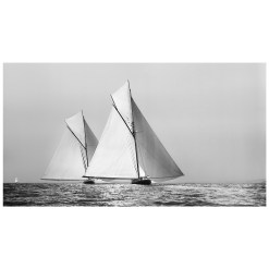 Unframed Black and White, Silver Gelatin, Limited edition Photograph of sailing yacht Shamrock 1 chasing Britannia. Taken by a famous marine photographer Frank Beken in 1899. This photograph was scanned from original glass plate negatives and developed in the dark room as they used to do it period. Available to purchase in deferent sizes from Brett Gallery. Beken of Cowes Framed Prints, Beken of Cowes archives, Beken of Cowes Prints, Beken Archive, Cowes Week old Photographs, Beken Prints, Frank beken of Cowes.