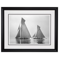 Framed Limited edition, Silver Gelatin, Black and White Photograph of sailing boat Shamrock 4 and Shamrock 23. Taken by a famous marine photographer Frank Beken in 1914. Available to purchase in various sizes from the Brett Gallery. This picture was developed in the darkroom and scanned from original glass plat negative from period.Beken of Cowes Framed Prints, Beken of Cowes archives, Beken of Cowes Prints, Beken Archive, Cowes Week old Photographs, Beken Prints, Frank beken of Cowes.