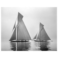 Unframed Black and White, Silver Gelatin, Limited edition Photograph of sailing yacht Shamrock 4 and Shamrock 23. Taken by a famous marine photographer Frank Beken in 1914. This photograph was scanned from original glass plate negatives and developed in the dark room as they used to do it period. Available to purchase in deferent sizes from Brett Gallery. Beken of Cowes Framed Prints, Beken of Cowes archives, Beken of Cowes Prints, Beken Archive, Cowes Week old Photographs, Beken Prints, Frank beken of Cowes.