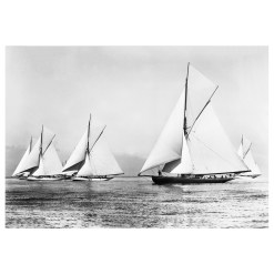 Unframed Black and White, Silver Gelatin, Limited edition Photograph of 5 sailing yachts at Start Ryde Town Cup sailing at sea. Taken by a famous marine photographer Frank Beken in 1903. This photograph was scanned from original glass plate negatives and developed in the dark room as they used to do it period. Available to purchase in deferent sizes from Brett Gallery. Beken of Cowes Framed Prints, Beken of Cowes archives, Beken of Cowes Prints, Beken Archive, Cowes Week old Photographs, Beken Prints, Frank beken of Cowes.