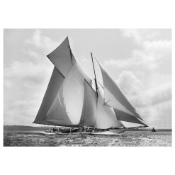 Unframed Black and White, Silver Gelatin, Limited edition Photograph of sailing yacht Suzanne sailing at sea. Taken by a famous marine photographer Frank Beken in 1910. This photograph was scanned from original glass plate negatives and developed in the dark room as they used to do it period. Available to purchase in deferent sizes from Brett Gallery. Beken of Cowes Framed Prints, Beken of Cowes archives, Beken of Cowes Prints, Beken Archive, Cowes Week old Photographs, Beken Prints, Frank beken of Cowes.