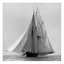 Unframed Black and White, Silver Gelatin, Limited edition Photograph of sailing yacht Waterwitch sailing at sea. Taken by a talented marine photographer Alfred John West in 1884. This photograph was scanned from original glass plate negatives and developed in the dark room as they used to do it period. Available to purchase in deferent sizes from Brett Gallery. Beken of Cowes Framed Prints, Beken of Cowes archives, Beken of Cowes Prints, Beken Archive, Cowes Week old Photographs, Beken Prints, Frank beken of Cowes.