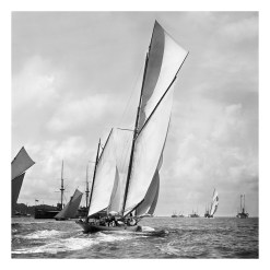 Unframed Black and White, Silver Gelatin, Limited edition Photograph of sailing yacht White Heather sailing at sea with full sails of wind. Taken by a talented marine photographer Alfred John West in 1904. This photograph was scanned from original glass plate negatives and developed in the dark room as they used to do it period. Available to purchase in deferent sizes from Brett Gallery. Beken of Cowes Framed Prints, Beken of Cowes archives, Beken of Cowes Prints, Beken Archive, Cowes Week old Photographs, Beken Prints, Frank beken of Cowes.