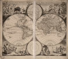 Old world map of the globe from 1705