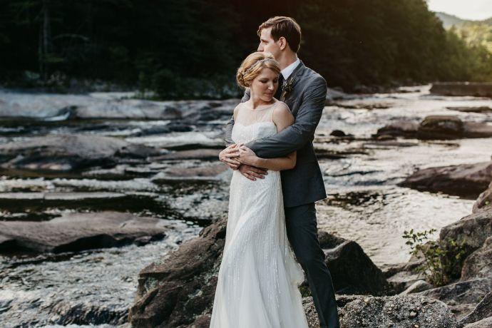 brown mountain beach wedding
