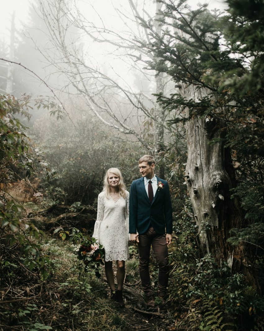 asheville trail mountain elopement