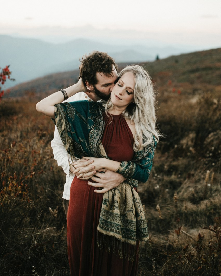 intimate asheville mountain engagement