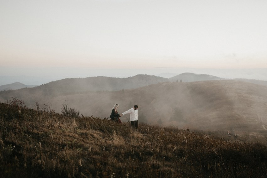 foggy blue ridge parkway engagement
